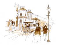 ガス灯の脇を馬車鉄道が走る明治時代の街中