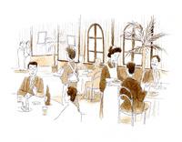 食事とお酒を愉しむ人で盛況な大正時代の西洋料理店