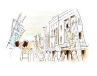 映画や芝居を楽しみに来た人々で賑わう昭和の繁華街