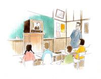 皆でテレビのニュースを観ている昭和の小学校の教室
