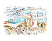 多くの観客で混み合う日本万国博覧会の会場