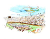 空に描かれた五輪マークの下で行われる東京オリンピック開会式