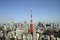 麻布十番からみた東京タワーと虎ノ門ヒルズ 10884000030| 写真素材・ストックフォト・画像・イラスト素材|アマナイメージズ