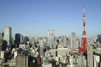 麻布十番からみた東京タワーと愛宕ヒルズ 10884000031| 写真素材・ストックフォト・画像・イラスト素材|アマナイメージズ