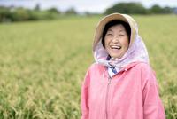 農家で働く笑顔のシニア女性