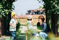 たんぽぽの綿毛を吹く少年と少女と母親 10901000056| 写真素材・ストックフォト・画像・イラスト素材|アマナイメージズ