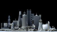 モノトーン調の未来都市 10913000002| 写真素材・ストックフォト・画像・イラスト素材|アマナイメージズ