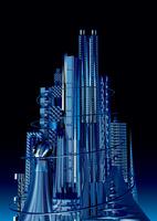 夜景 青く輝く未来都市 10913000006| 写真素材・ストックフォト・画像・イラスト素材|アマナイメージズ