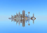 水面に映る未来都市 10913000008| 写真素材・ストックフォト・画像・イラスト素材|アマナイメージズ