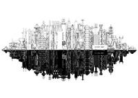 鏡像 線画の未来都市 10913000012| 写真素材・ストックフォト・画像・イラスト素材|アマナイメージズ