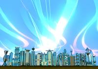 飛び交う情報 明るい未来都市 10913000015| 写真素材・ストックフォト・画像・イラスト素材|アマナイメージズ