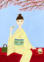 桜の下で団子を食べる着物を着た女性 10918000004| 写真素材・ストックフォト・画像・イラスト素材|アマナイメージズ
