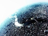 墨田区隅田川河口上空