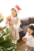 クリスマスツリーの飾り付けをする姉妹 11000042789| 写真素材・ストックフォト・画像・イラスト素材|アマナイメージズ
