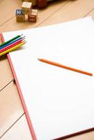 リビングの色鉛筆とスケッチブック