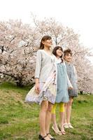 桜と女性 11000044743  写真素材・ストックフォト・画像・イラスト素材 アマナイメージズ
