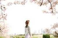 桜と女性 11000044751  写真素材・ストックフォト・画像・イラスト素材 アマナイメージズ