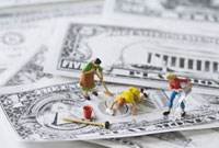 Miniature figures washing play money