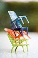 Stacked toy chairs