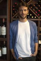 Sommellier in wine cellar, portrait