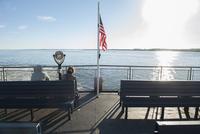 Passengers on ferry boat deck