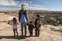 Family looking at scenic view in Canyonlands National Park, Utah, USA