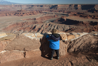 Toddler boy looking at scenic view at Dead Horse Point State Park in Utah, USA