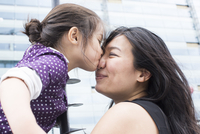 Girl kissing mother's nose outdoors