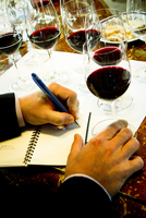 Wine taster writing notes