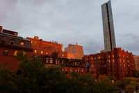 Rainbow over city, Boston, Massachesetts, USA