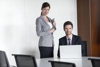 Business team members preparing for presentation