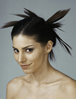 Young woman with spiky hairstyle, portrait