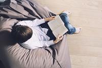 Boy sitting on beanbag chair, reading book