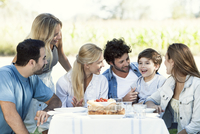 Family and friends spending time together outdoors 11001063930| 写真素材・ストックフォト・画像・イラスト素材|アマナイメージズ