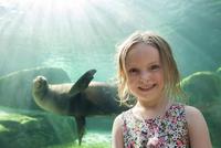Little girl at aquarium, portrait