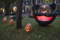 Halloween decorations illuminated at twilight