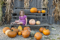 Girl sitting with a large assortment of pumpkins