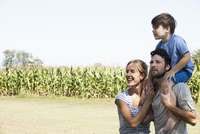 Family spending time together outdoors, portrait
