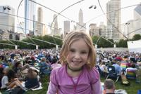 Little girl at Jay Pritzker Pavilion, Millennium Park, Chicago, Illinois, USA