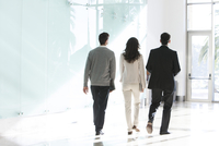 Business associates walking together in office