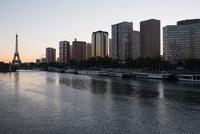 High rise buildings along the Seine River, Paris, France