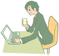 飲み物を飲みながらパソコンを見る男性 イラスト 11002026301| 写真素材・ストックフォト・画像・イラスト素材|アマナイメージズ
