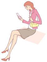 携帯電話を持つ女性 イラスト 11002026305| 写真素材・ストックフォト・画像・イラスト素材|アマナイメージズ