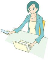 携帯電話を持つ女性 イラスト 11002026306| 写真素材・ストックフォト・画像・イラスト素材|アマナイメージズ