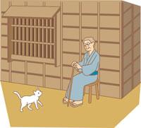 休憩をする老人とネコ イラスト