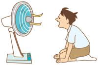 扇風機と子供 イラスト