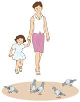 散歩をする母と娘と鳩 イラスト