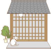 玄関とネコ イラスト