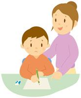 宿題をする親子 イラスト 11002026714| 写真素材・ストックフォト・画像・イラスト素材|アマナイメージズ