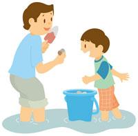 潮干狩りをする親子 イラスト